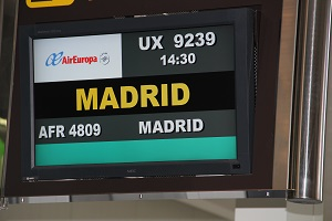 Airport Screen with an Air Europa flight to Madrid