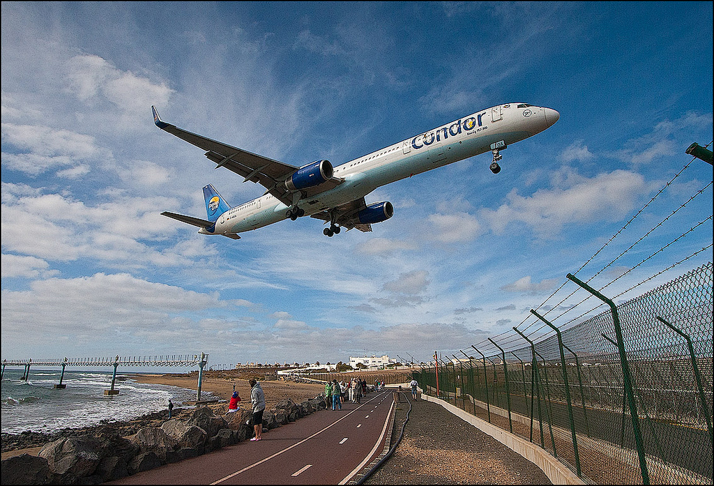 Photo: Condor aircraft landing at Lanzarote airport
