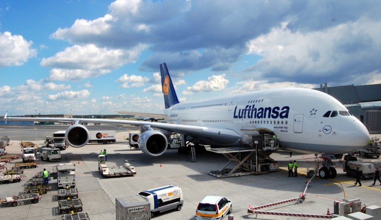 A380 receiving ground handling services at Frankfurtt
