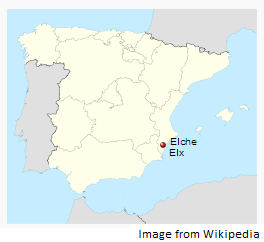 Alicante-Elche in the map of Spain