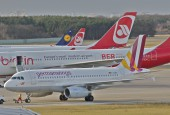 Germanwings A319 together with Air Belin and Lufthansa in December 2012 / Aero Icarus