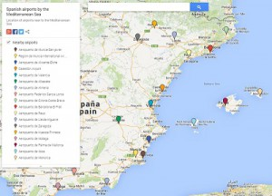 Link to a map with details on the location of the Spanish airports near to the Mediterranean Sea