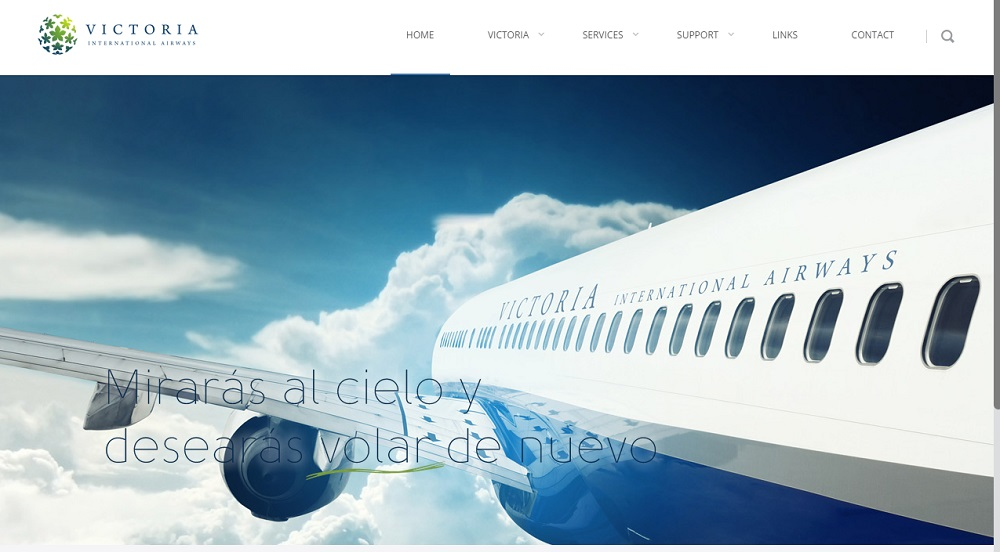 Screenshot of the Victoria International Airways web site