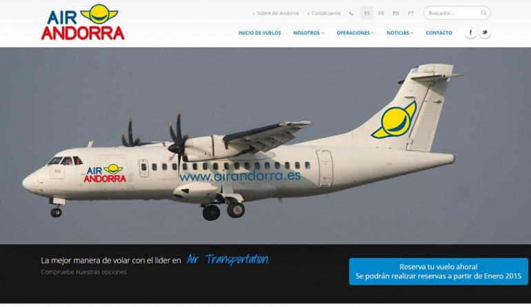 Air Andorra's web site screenshot