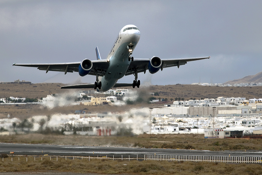 Thomas Cook Airlines taking off in Lanzarote airport by jBarcena - Flickr.